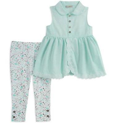 girls blue sleeveless tunic 2pc legging set