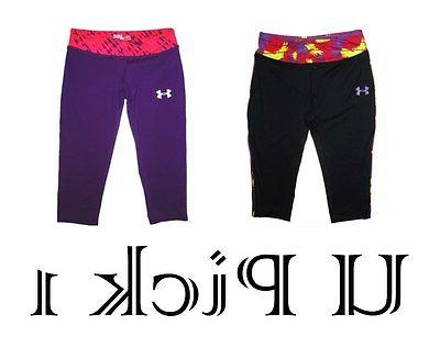 UNDER ARMOUR CAPRI PANTS YOUTH GIRLS CHILDRENS CLOTHES BLACK