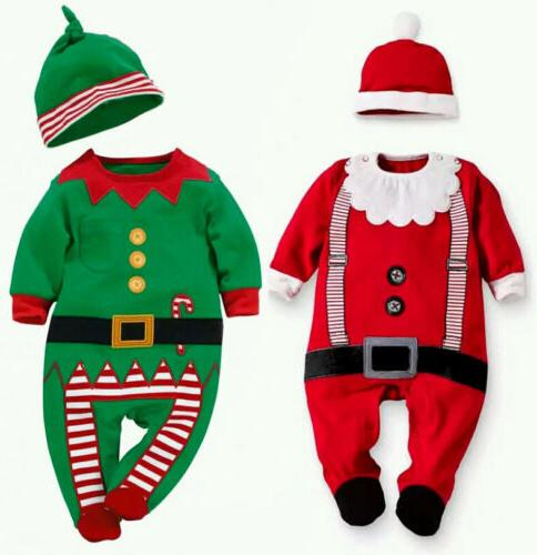 Christmas Baby Boys Girl Bodysuit Hat Outfit