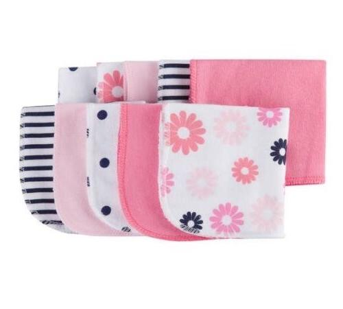 coral pink navy terry washcloths