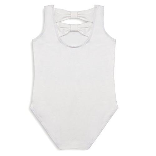 Agoky Camisole Back Leotard for Gymnastics Ballet White Bowknots 10-12
