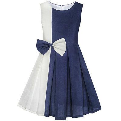 Sunny Fashion Dress Color Block Tie 4-14