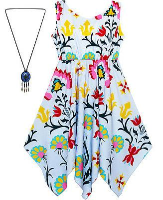 Sunny Fashion Girls Dress Flower Print Hanky Hem With Neckla