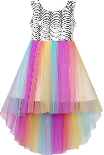 flower girls dress colorful sequin mesh party