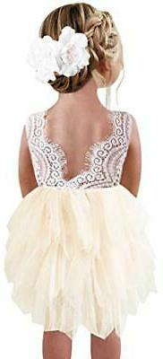 2Bunnies Girl Beaded Peony Lace Back A-Line Tiered Tutu Tull