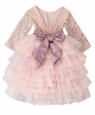 2Bunnies Peony Lace Back A-Line Tutu Tulle Flower, Pink, Size
