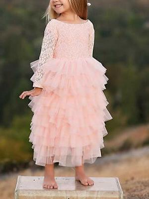 girl peony lace back a line tiered