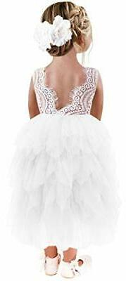 2Bunnies Girl Peony Lace Back A-Line Tiered Tutu