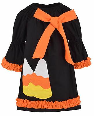 girls candy corn halloween dress with bow