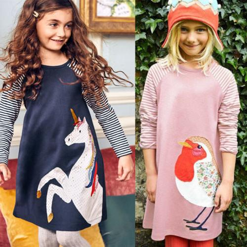 Girls Clothes Long Sleeve Kids Dress Animal Appliques for Gi