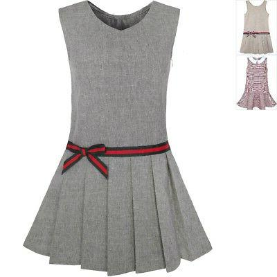 girls dress gray school uniform pleated skirt