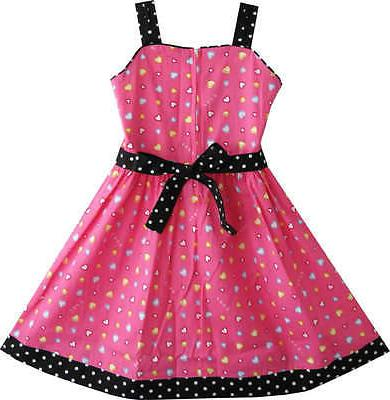 Sunny Girls Heart Print Pink Children Clothes Size