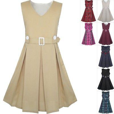 girls dress khaki button back school uniform