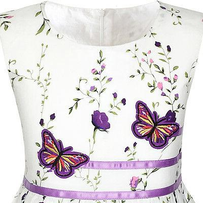 Sunny Girls Dress Purple Butterfly Party Age 4-12