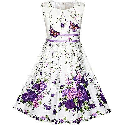 girls dress purple butterfly flower sundress party