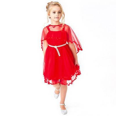 Sunny Girls Dress Red Cape Wedding Party Size Pageant