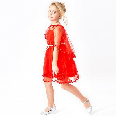 Sunny Girls Dress Red Belt Wedding Party 3-14 Pageant