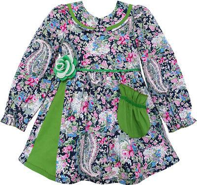 girls dress turn down collar paisley flower