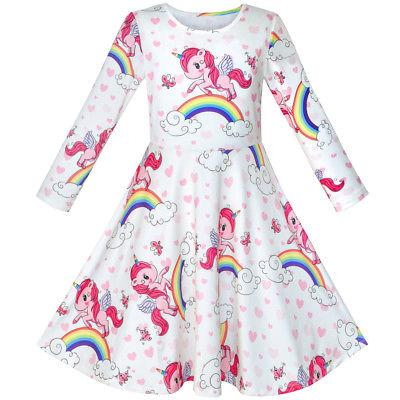 girls dress unicorn rainbow long sleeve casual