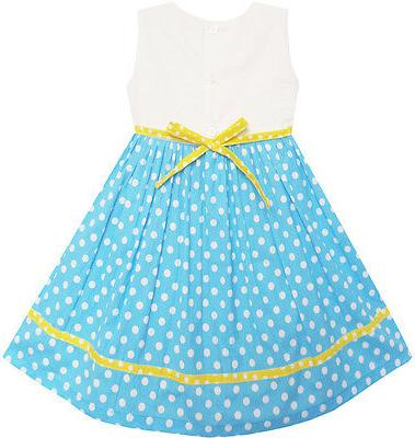 Girls Blue Flower Party Kids Size