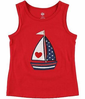 girls embroidered sailboat tank top red 4t