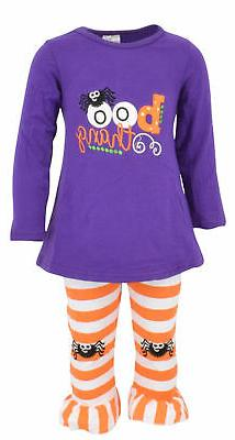girls halloween outfit with spider leggings boutique