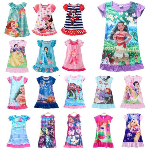 girls kids disney cartoon princess dress pyjamas