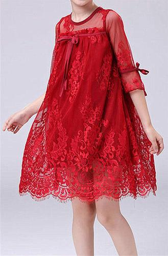 2Bunnies Girls Long Sleeve Vintage Lace Christmas Party Dress