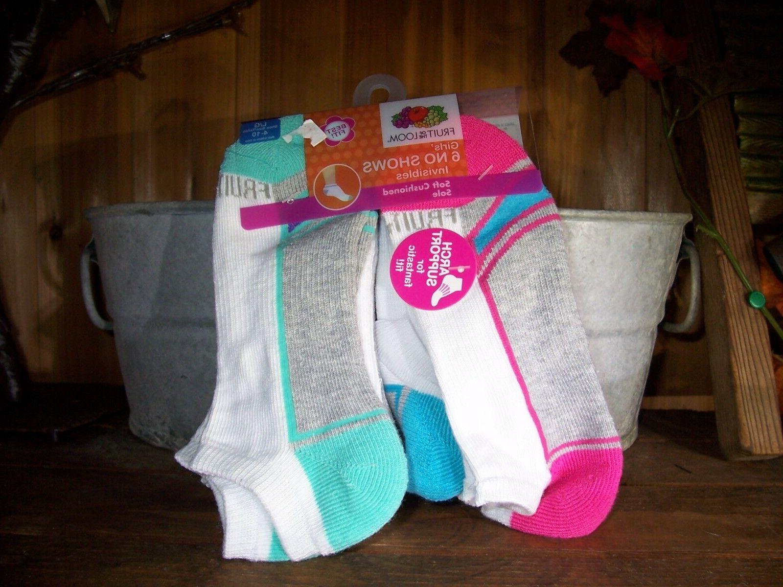FRUIT OF THE LOOM GIRLS LOW CUT SOCKS 6 PACK SIZE LG 4-10 SC