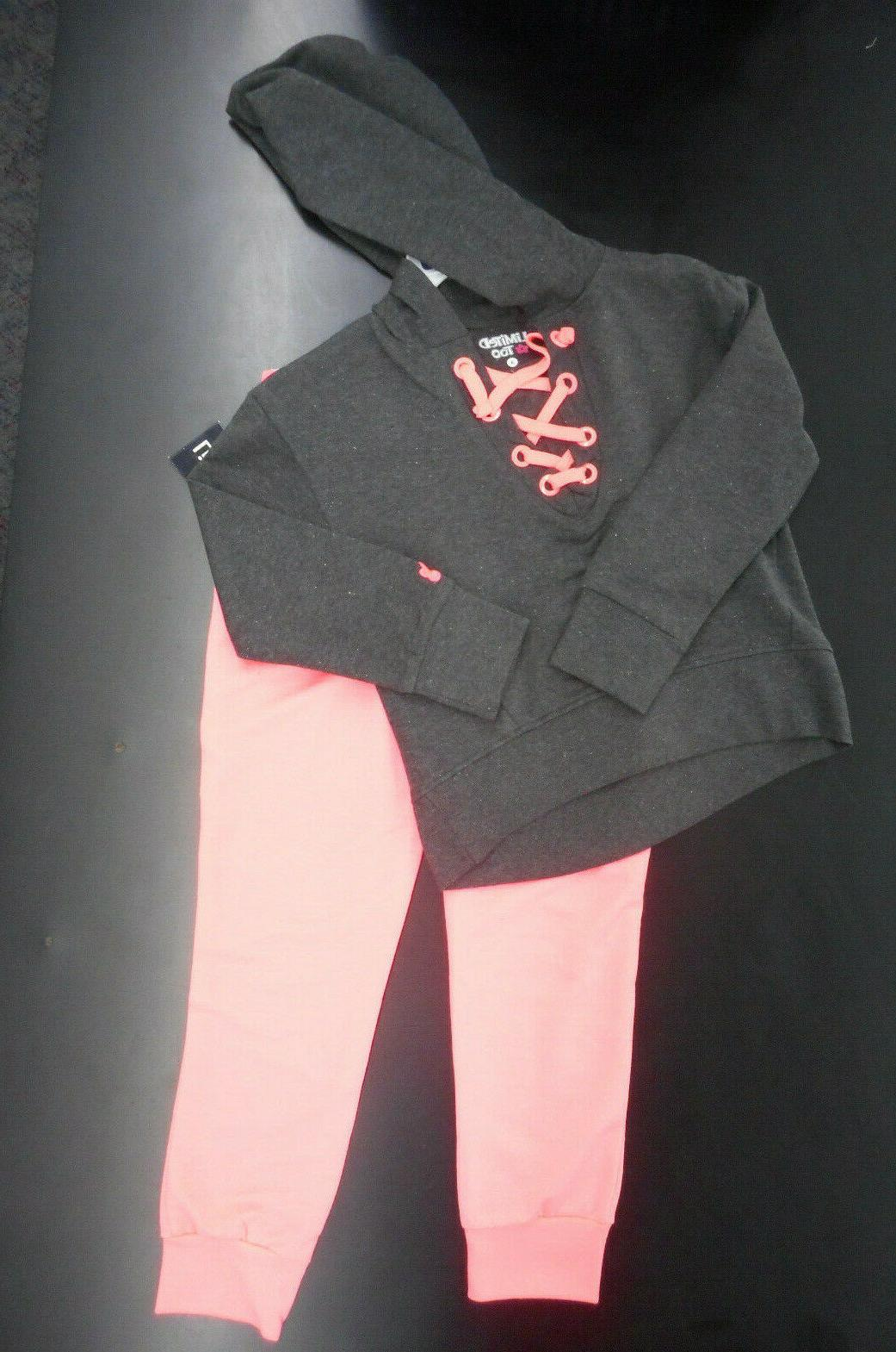 girls neon corral and grey sweat suit