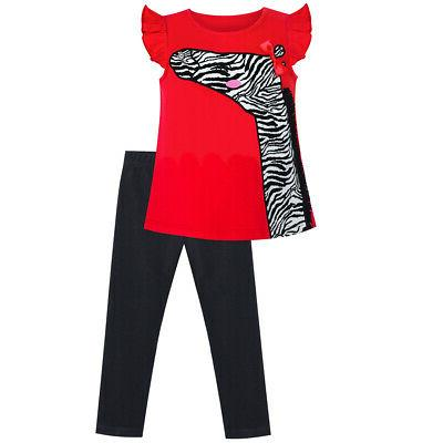 girls outfit set tee and pants zebra