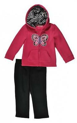 girls pink hoodie 2pc legging set size