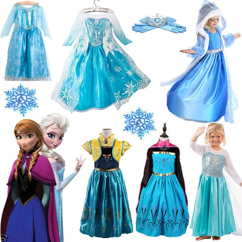 Toddler Kids Girls Anna Elsa Dress Cosplay Costume Princess