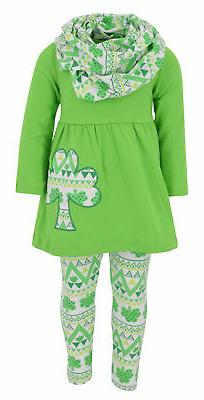 Girls ST Patrick's Day Repeating Clovers Outfit Set 2t 3t 4