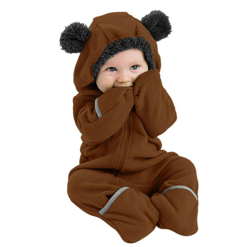 Infant Baby Boy Solid Ear Hoodie Romper Clothes Jumpsuit