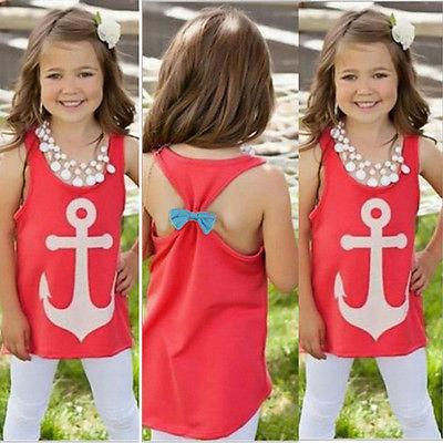 Kid Baby Girls Anchor Tank Tops Bowknot Sleeveless Tees T-Sh