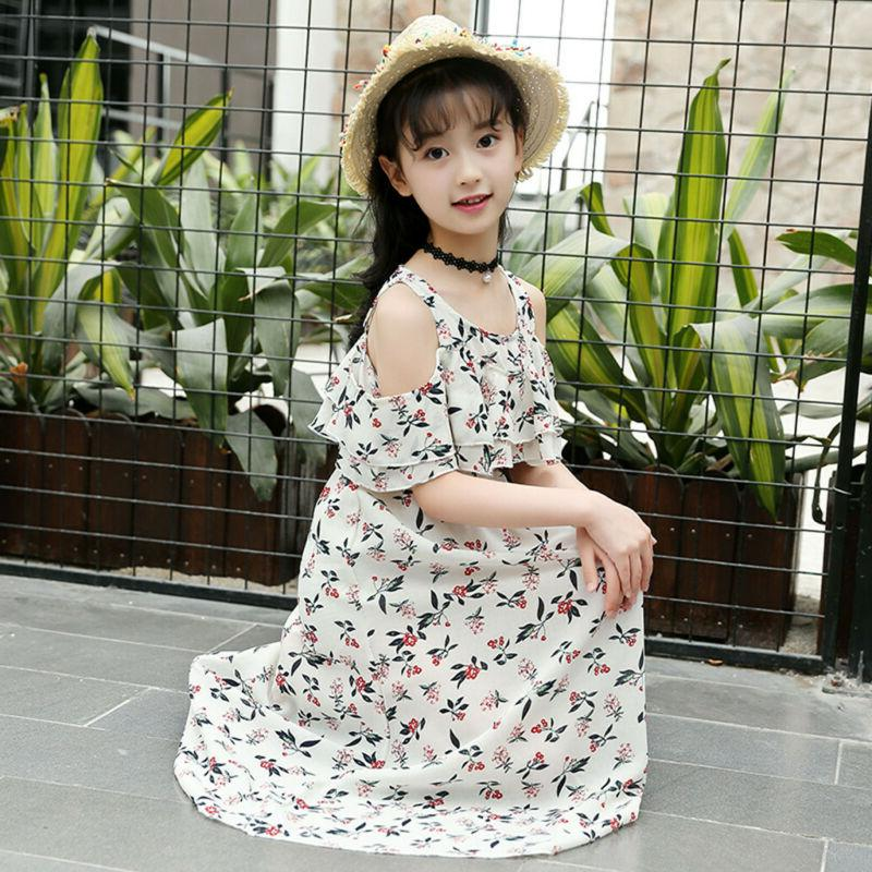 Kid Teen Children Ruffles Beach Dress Casual Clothes US