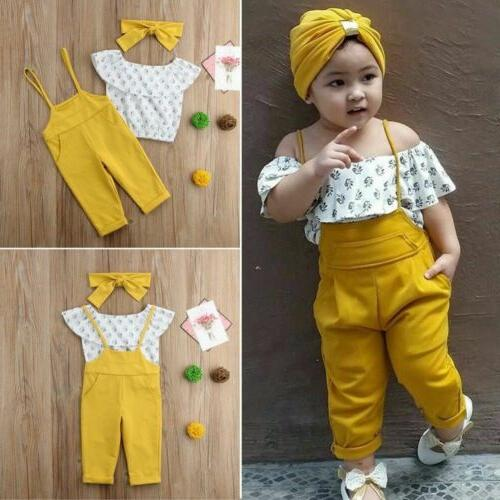 Kids Baby Girls Off Shoulder T-shirt Overalls Outfits