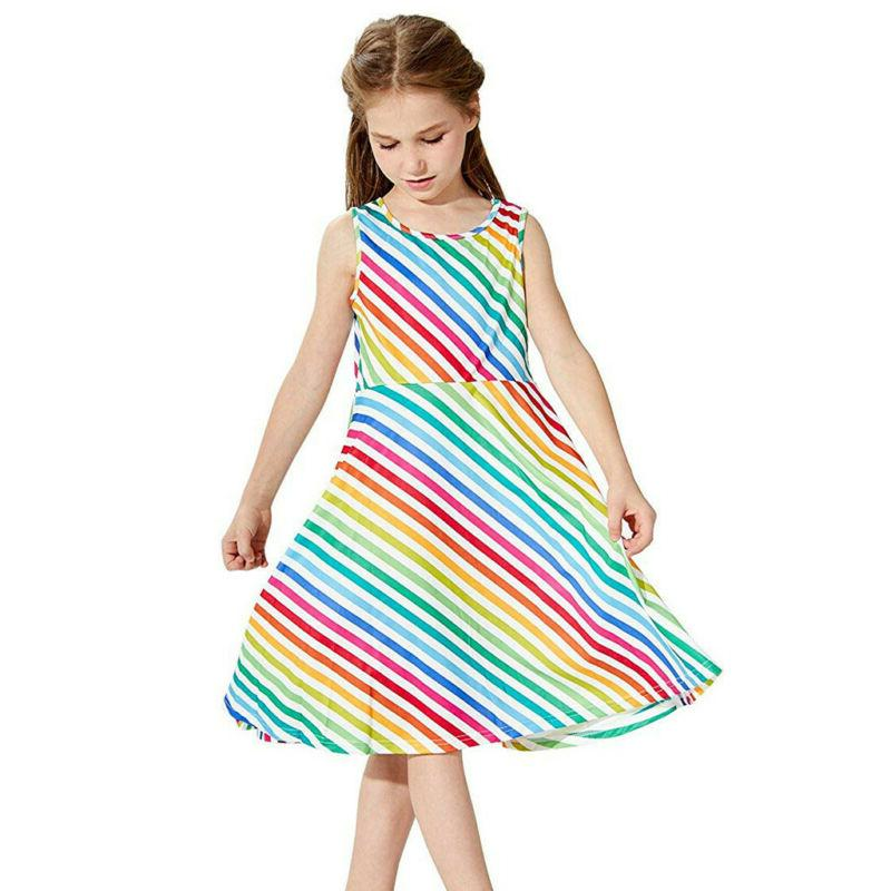 Kids Girls Sleeveless Dress School Party Sundress