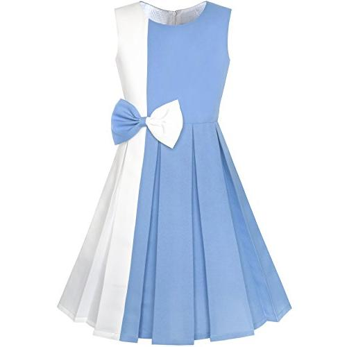ky96 girls dress color block contrast bow