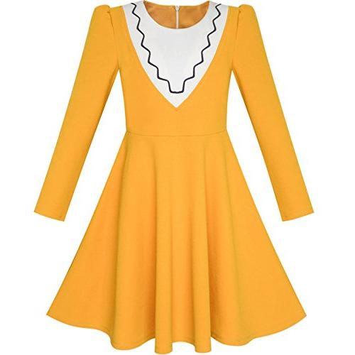 lh61 girls dress back school long sleeve