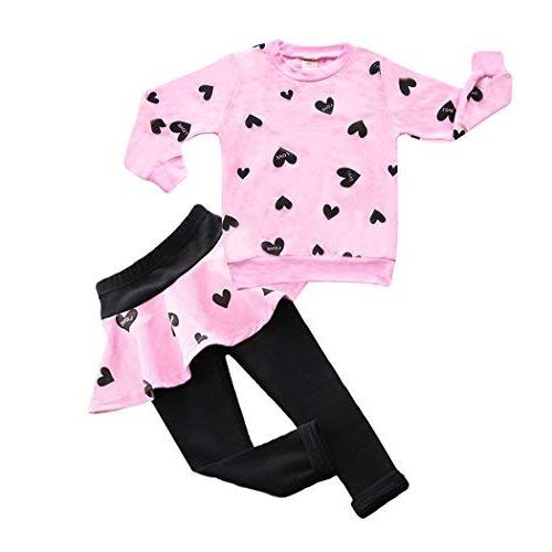 DDSOL Little Girls Set Outfit Heart Hoodie Top+Long
