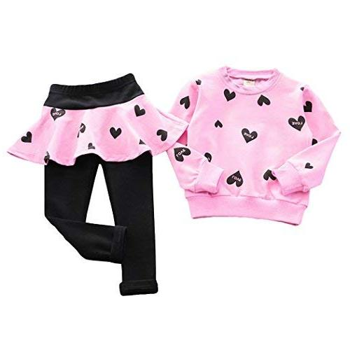 DDSOL Girls Set Outfit Heart Hoodie Pantskirts 2pcs
