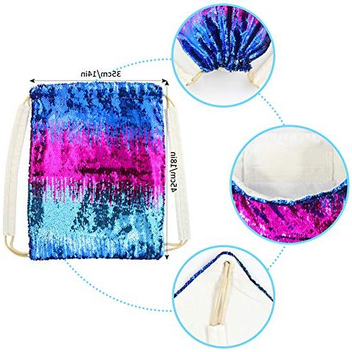 Play Tailor Mermaid drawstring Bag, Sequin Bag Sequin Backpack