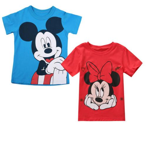 Mickey Kids Baby Boy Girl Short Sleeve T Shirt Tee Tops Summ