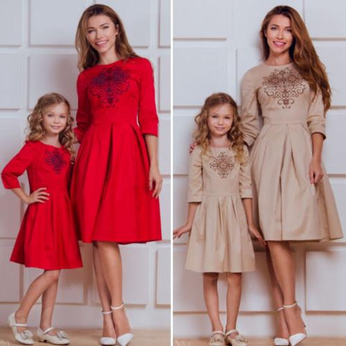 Mother Daughter Clothes Striped Mom Kids Parent Long US