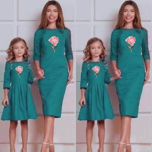 Mother Clothes Striped Mom Long Dress Outfits US
