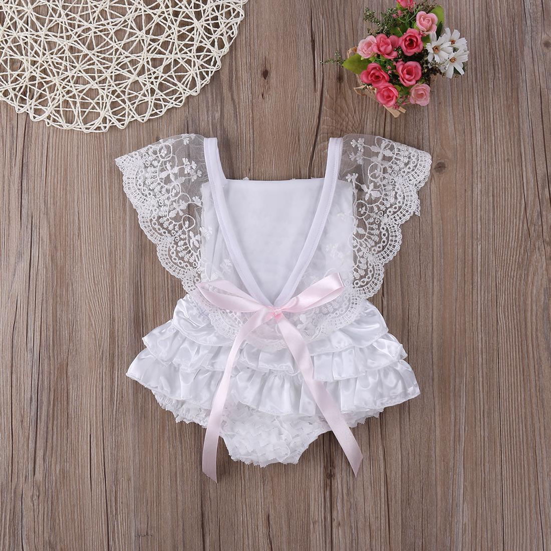 New Kids Baby Clothes Lace Floral Romper Jumpsuit Outfits Stock
