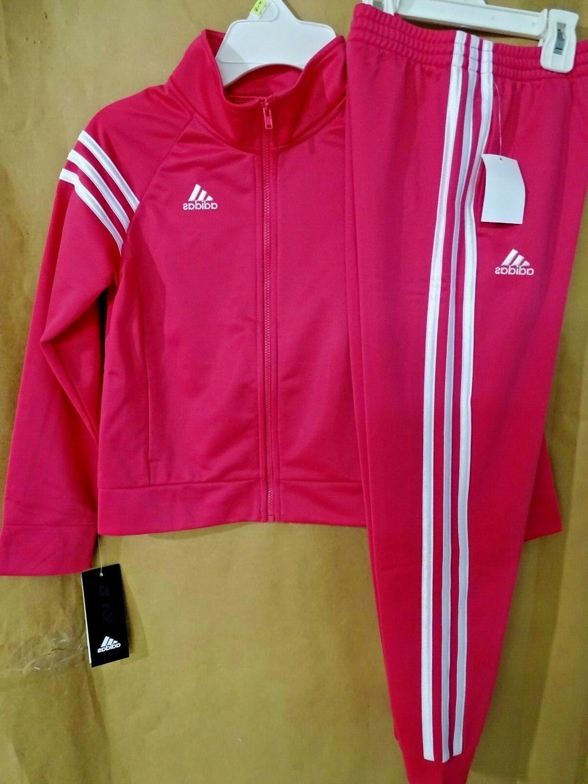NEW adidas Little Girl's 6X Tricot Jacket & Jogger Pants 2-P