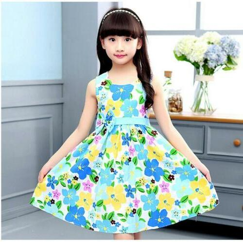 New Summer Girl Dresses Cotton Size